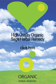 Organic sage herbal tincture can help with sore throat, menopausal hot flushes and night sweats